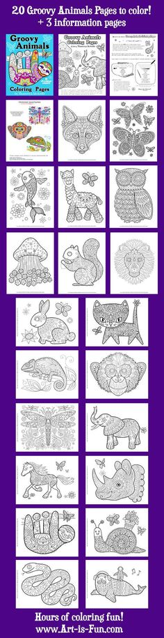 Groovy Animals Coloring Pages PDF 20 Printable Animal by thaneeya