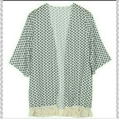 Final price drop Geometrical Kimono S & L left Black and white geometrical kimono of with fringe detail. This is a light weight sheer material. Comment with what size you need and I will make a separate listing. Price firm Boutique  Tops