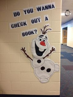 "Olaf in the library! Great for an elementary school library. However, I might say, ""Do you wanna check a book out?"" It seems to flow a bit better. Tho, Frozen fans will love it either way. School Library Displays, Middle School Libraries, Elementary School Library, Elementary Library Decorations, School Library Decor, School Decorations, Library Bulletin Boards, Bulletin Board Display, Olaf Bulletin Board"