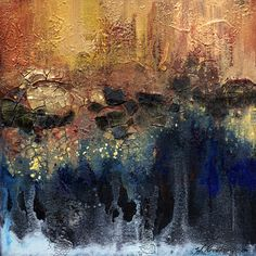 A combination of art mediums and metallic paints make up this moody painting. Wendy Kroeker