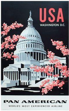 #PanAm #WashingtonDC US vintage travel poster cherry blossoms