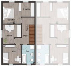 #Grundriss Obergeschoss vom #Doppelhaus Aura 125
