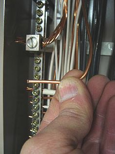 Ground Wire Is Connected To The Neutral Ground Bus In Back Of Main Breaker Panel Home Electrical Wiring Diy Electrical Basic Electrical Wiring