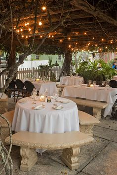 Lovely presentation under twinkling lights and a Jasmine Arbor at OC Whites in St. Augustine, FL . A great place for a Rehearsal Dinner or small Wedding Reception