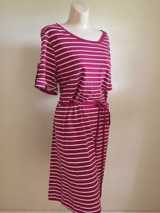 Womens Red White Striped Organic Cotton T Shirt Dress Size XL 16 18 W2   eBay