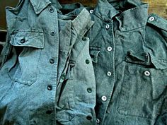 Denim junkies beware.. These authentic vintage swedish military shirt jackets are killer! Produced in 1950s & 1960s Sweden - amazing old school quality in every regard. Absolute top shelf denim textile, construction, and weave. Super cool retro military style with unique over sized