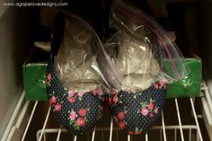 Stretch out tight shoes by placing a bag of water in each and leaving them in the freezer overnight. | 25 Ingenious Clothing Hacks Everyone Should Know