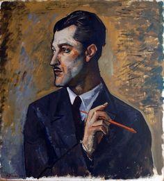 Achille Funi (Italian, 1890-1972),Portrait of the painter Mario Tozzi, 1929. Oil on canvas, 62 x 57cm. Museo del Paesaggio, Verbania, Lago Maggiore.