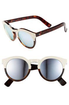 Illesteva  Leonard II  50mm Round Mirrored Sunglasses Oculos De Sol, Prata,  Óculos 982628642b