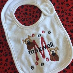 Hey, I found this really awesome Etsy listing at https://www.etsy.com/listing/449045452/baby-bib-personalized-monogram-with-dogs