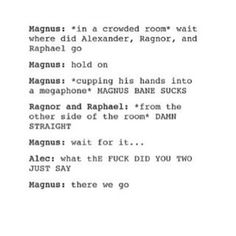 I love this #malec