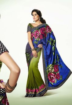 Product Code 9320 Weight 2 KG Delivery Days 20 Days Fabric Satin Blouse Faux Georgette Occasion Party Wear, Traditional Work Floral Print Saree crafted with Resham, Zari, Stone and Patch Border Work S
