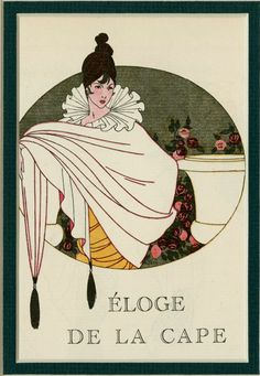 Georges Lepape 1920 -The Cape is a charming antique original French pochoir fashion plate from the 1920s art deco period, and is from one of the most influential