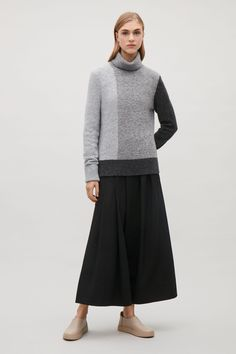 COS image 6 of Colour-block roll-neck jumper in Grey