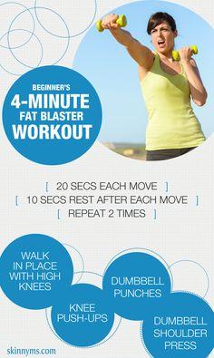 Beginner's 4 Minute Fat Blaster Workout--an excellent first step toward weight loss!  #weightloss #4minuteworkout #workout