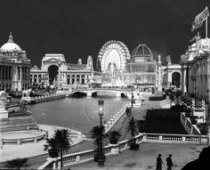 Altered night scene from the Chicago World Fair 1893, composed of several archive photographs.