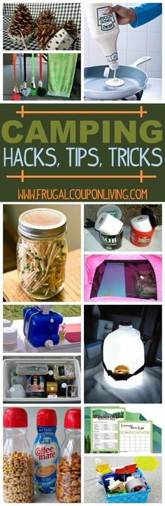 Camping Hacks, Tips and Tricks - A round-up of the BEST Camping ideas for your next camping adventure on Frugal Coupon Living. #glampingcamping
