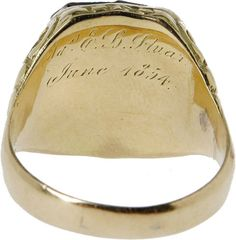 JEB Stuart's West Point Class Ring, gold with a green stone depicting the West Point insignia. This ring was given to him by his mother and father when he graduated in 1854.