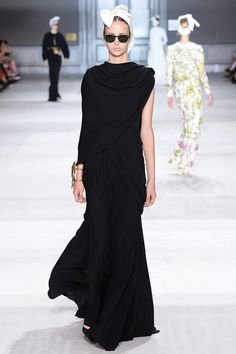 Giambattista Valli | Fall 2014 Couture Collection | draped over the shoulder black gown -- so elegant!