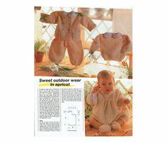 Genuine Vintage Sabrina 'Sweet Outdoot Set In Apricot' Babies Magazine Knitting Pattern PDF