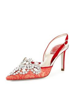 Crystal+Lace+75mm+Slingback+Pump,+Red+by+Rene+Caovilla+at+Neiman+Marcus.