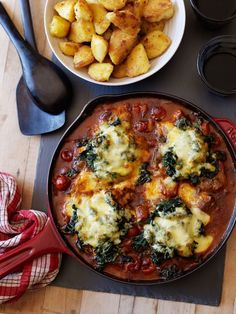 Florentine Pork Chops This one pan dish has juicy pork chops nestled in a rich tomato sauce and topped with spinach and melting mozzarella. I served ours with crispy sautéed potatoes