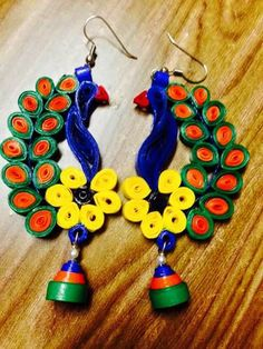 Quilled peacock earings