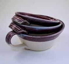 Set of Three Purple and White Nesting Batter by donnakellerpottery