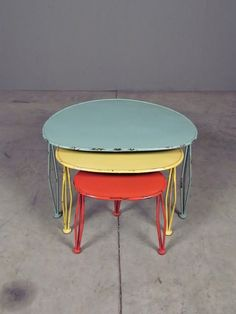 thorton nesting tables - a visual blast from the past, made squarely in the present