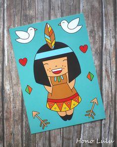 Kinder Einladung Postkarten Karte Geburtstag Feier Glückwunsch Indianer Mädchen Illustration retro Vögel Herzen Feder bunt blau türkis braun schwarz rot weiß grün gelb orange petrol beige von fummelhummel bzw. Hono Lulu dawanda.de