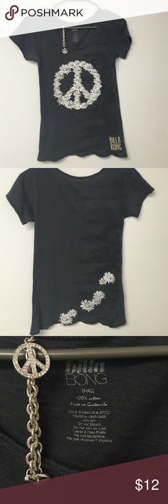 Billabong Peace Sign Tshirt Gray short sleeve t shirt with flower peace sign design and flowers on the back.  Size small.  Bundle with peace sign bracelet and save! Billabong Tops Tees - Short Sleeve