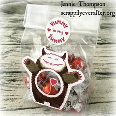 Yummy in my Tummy Super-fun treat bag stuffed with Lindt : )  Jennie Thompson, Stampin' Up! Independent Demonstrator