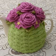 Crochet Tea Cosy/Light Green with Roses (Made to order)