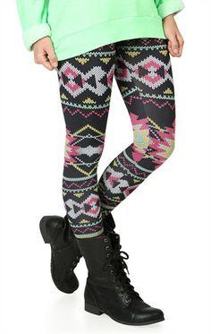 Deb Shops Black and Hot Pink #Southwestern Print #Legging $11.92