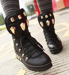 Womens Ladies Lace Up Rivet Punk Wedge Heel Casual Ankle Boots Shoes 2108 | eBay