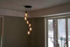 Jar Chandelier Light    6Strand Spiral Mason door IndustrialRewind