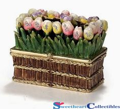 Long Spring Tulip Box - Bejewelled Trinket Box (pastel colours)