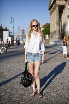 white shirt, denim shorts, slipper.. laid back fashion