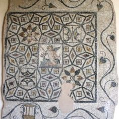 Eros on a dolphin, full floor with leaf surround. Late Roman. Rhodes Archeological Museum, Greece. Photo: Helen Miles Mosaics