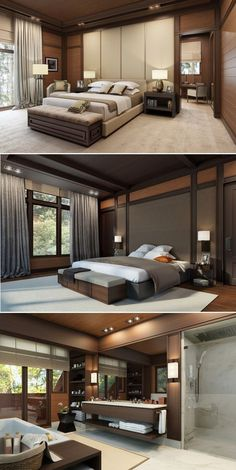 Here are several modern bedroom designs that can turn your bedroom into the ideal retreat and resting place.Design a house project in the Leningrad region.Bedroom Color Inspiration and Project Idea Gallery Luxury Bedroom Design, Master Bedroom Design, Home Interior Design, Bedroom Designs, Bedroom Modern, Modern Interior, Modern Decor, Suites, Bedroom Apartment