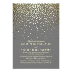 Gold Foil Confetti Art Deco Wedding 5x7 Paper Invitation Card