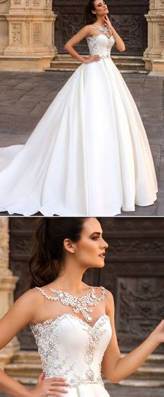 Fantastic Tulle & Satin Bateau Neckline A-Line Wedding Dresses With Beaded Embroidery