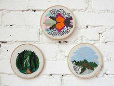 da série paisagens IV, V e VI. landscape.  Andrea Lourenço  embroidery art,