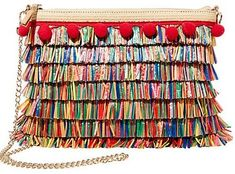 Betsey Johnson Cross Body Purse: This festive crossbody bag screams that it's Tiki Time! It's roomy, square silhouette features rows of multi-colored fringe for a playful look. #BetseyJohnson #BetseyJohnsonPurse #CrossbodyPurse