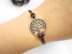 Wishes tree Bracelet---antique silver little round tree leather chain