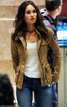 Megan Fox TMNT - Casual costume: She completed her investigative journalist character's look with a low-cut...