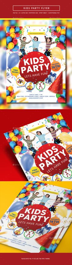 Kids Party Flyer — Photoshop PSD #play #day • Available here → https://graphicriver.net/item/kids-party-flyer/14402674?ref=pxcr