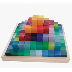 Small Stepped Pyramid 100 Pieces-  Such simple blocks, but, the colors- OMG! I want them for me. :) Another Grimm's Spiel and Holz
