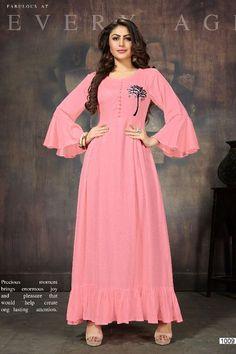 Pink-Stylish-Evening-Wear-Rayon-Floor-Length-Kurti-With-Bell-Sleeves-1009-32592 Catalog No : 6218 WWW.LKFABKART.COM #wholesalekurtis #wholesalekurtisupplier #kurtisdealers #kurtiexporters #kurtimanufacturer #kurtistockist #stylish #eventwear #festivewear #kurti #factoryrates #worldwide #lkfabkart