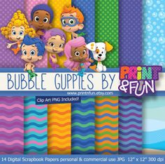 Digital Paper Bubble Guppies molly clip art Background Patterns waves sea for Party Printables bottle labels favor boxes party hat toppers